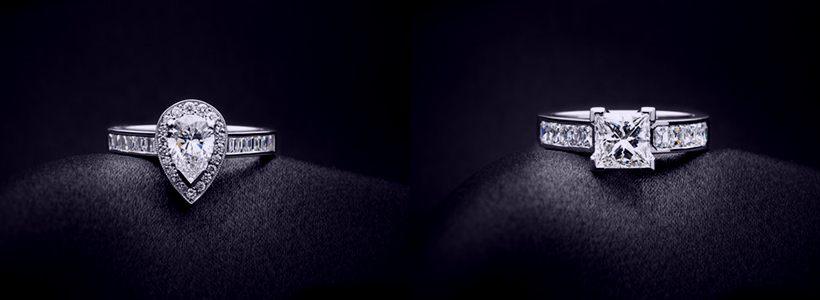 imagen dos diamantes blancos en forma de pera y princesa
