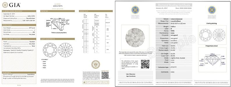 certificados de diamante en calidad y origen