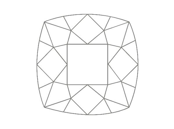 diamante en forma de cojín o almohada