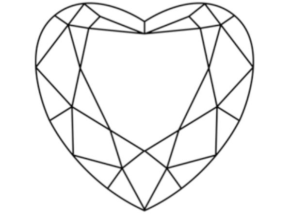 diamante en corte de corazón