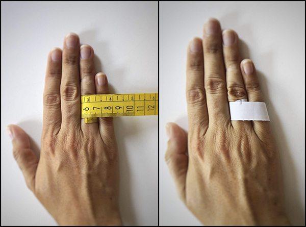manos con diferentes métodos para medir el diámetro del dedo